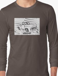 1955 F100 Ford Pickup Truck and Flag Illustration Long Sleeve T-Shirt