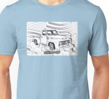 1955 F100 Ford Pickup Truck and Flag Illustration Unisex T-Shirt