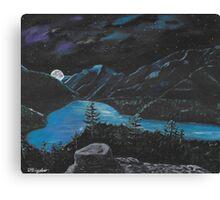 Mountin lake Night Canvas Print