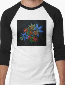 Retro Trendy Floral Pattern Men's Baseball ¾ T-Shirt