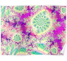Rapsberry Heart Star, the Abstract Fractal Heart Beat of Love Poster