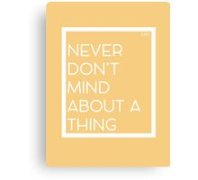 Never Don't Mind About A Thing Canvas Print