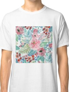 Pretty watercolor hand paint floral artwork Classic T-Shirt