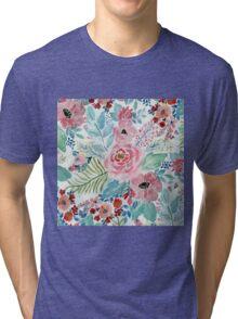 Pretty watercolor hand paint floral artwork Tri-blend T-Shirt