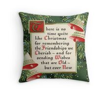 Nostalgic Christmas pine wreath christmas saying friendship Throw Pillow