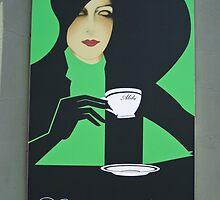 Cafe Alibi poster- Budapest, Hungary by David Chesluk