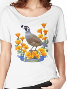 California State Bird and Flower Quail and Golden Poppy Women's Relaxed Fit T-Shirt