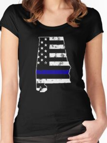 Alabama Thin Blue Line Police Women's Fitted Scoop T-Shirt