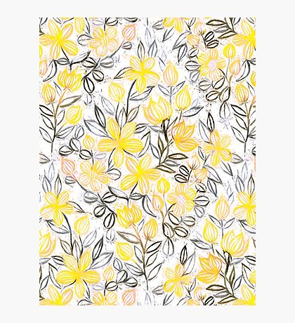 Sunny Yellow Crayon Striped Summer Floral Photographic Print