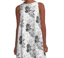 Black Roses and Spider Web A-Line Dress