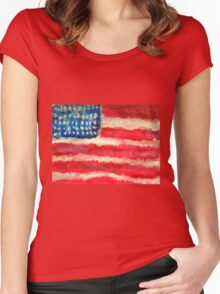 Rugged U.S. Flag Painting Women's Fitted Scoop T-Shirt