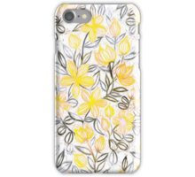 Sunny Yellow Crayon Striped Summer Floral iPhone Case/Skin
