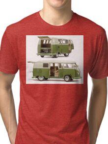 Bay Window Bus green white Tri-blend T-Shirt