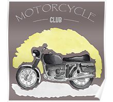 Watercolor Vintage Motorcycle Poster