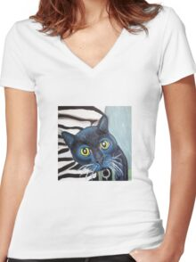 Tux the Shelter Cat Women's Fitted V-Neck T-Shirt