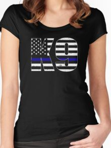 Police K9 Thin Blue Line Women's Fitted Scoop T-Shirt