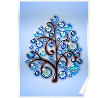 Blue Glass Ornaments Poster
