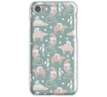 Vintage cute pink brown funny bear rabbit animal pattern iPhone Case/Skin