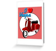 Vintage Red Scooter Greeting Card