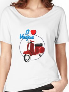 Vintage Red Scooter Women's Relaxed Fit T-Shirt