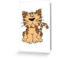 Cartoon Cat Sitting Art Greeting Card