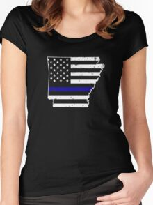 Arkansas Thin Blue Line Police Women's Fitted Scoop T-Shirt