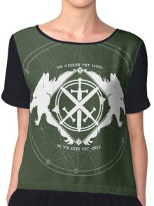 Strength of the Wolf [White on Green] Chiffon Top