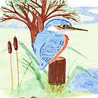 Watercolour Kingfisher by sarnia2