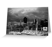 PNC Park - Pittsburgh PA - City Sky - Black and White Greeting Card