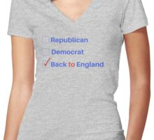 Go Back To England Women's Fitted V-Neck T-Shirt