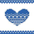 Blue Knitted Look Love Heart Style iPhone / iPad / Case / Pillow / Tote Bag/ Samsung Galaxy Case / Duvet by CroDesign