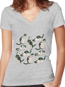 Crazy About Cats Women's Fitted V-Neck T-Shirt