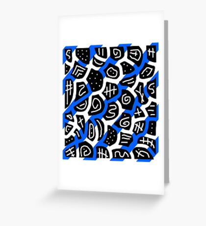 Blue, back and white playful pattern Greeting Card