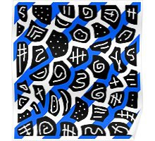 Blue, back and white playful pattern Poster