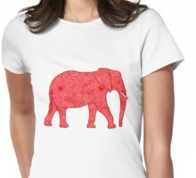 Flower Elephant, Deep Red and Coral Womens Fitted T-Shirt