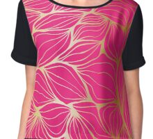 Beautiful,gold,hot pink,leaf,pattern,trendy,modern,chic,elegant Chiffon Top
