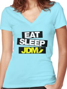 Eat Sleep JDM wakaba (4) Women's Fitted V-Neck T-Shirt