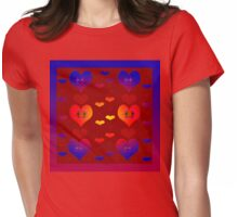 Glowing Hearts Womens Fitted T-Shirt