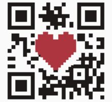 QR Code Heart Love Message  Prints / T-Shirt / iPhone Case / Pillow / Tote Bag /Duvet  / iPad Case / Mug Kids Clothes