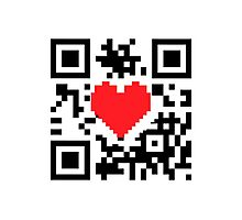 QR Code Heart Love Message  Photographic Print