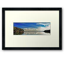 White Cloud Reflections Landscape. Framed Print