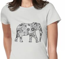 Fractal Swirl Elephant - Black and White Womens Fitted T-Shirt