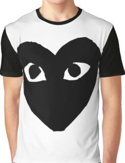 CDG Comme Des Garcons Play Love Heart BLACK Graphic T-Shirt