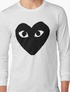 CDG Comme Des Garcons Play Love Heart BLACK Long Sleeve T-Shirt