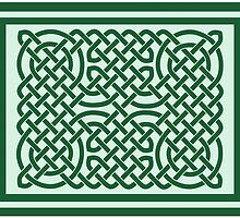 Celtic Knotwork on Green by chromedreaming