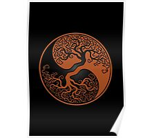 Brown and Black Tree of Life Yin Yang Poster