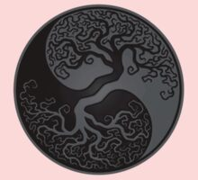 Gray and Black Tree of Life Yin Yang One Piece - Short Sleeve