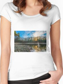 Skipping stones at Walden Pond. Women's Fitted Scoop T-Shirt