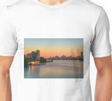 The Boston skyline behind the Charles River. Unisex T-Shirt