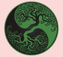 Green and Black Tree of Life Yin Yang One Piece - Short Sleeve